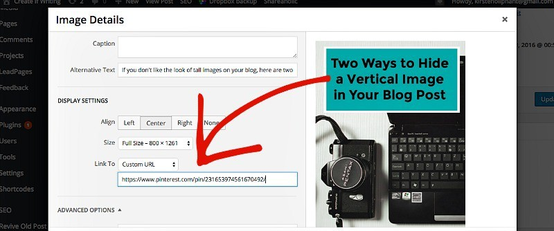 How to hide a vertical image in a blog post and get more people pinning your content.
