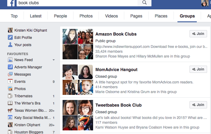 Searching for book clubs within groups on Facebook.