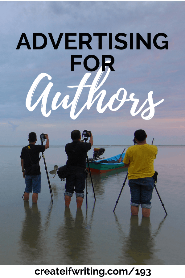 image with title, advertising for authors and people taking photos of a sunset